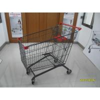 Buy cheap 270L Zinc Plating Metal Grocery Cart With Wheels / Safety Baby Seat European Style from wholesalers