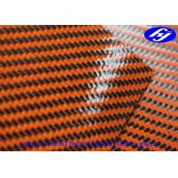 Buy cheap Orange Polyurethane Leather Fabric Glossy Twill Carbon Kevlar Hybrid Fabric For Gloves from wholesalers
