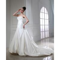 Buy cheap Latest Design Strapless Straight Across Mermaid Wedding Gowns , Beaded Satin Ruffle Gowns from wholesalers