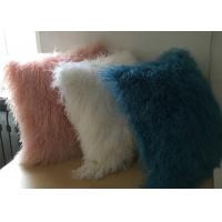 Buy cheap White Fuzzy Decorative Pillow , Extra Long Curly Mongolian Lambswool Cushion  from wholesalers