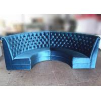 Buy cheap Blue Velvet Restaurant Booth Furniture , Fully Upholstered Half Moon Sofa Booth from wholesalers