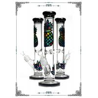 Buy cheap 13.5 Inches 7MM Straight Tube Glass Bongs Color Painting Pineapple from wholesalers