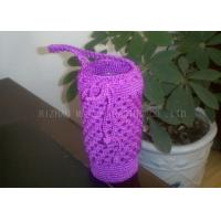 Buy cheap Purple Crochet Cup Cozy With Handles / Polyester Crochet Drinking Glass Covers from wholesalers