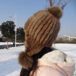 Buy cheap Natural Mink Fur Knit Earflap Winter Sheepskin Hats Hat Pom Pom Striped Style from wholesalers