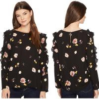 Buy cheap Fall Clothing W Ruffle Long Sleeve Detail Black Blouse Floral Ladies Tops from wholesalers