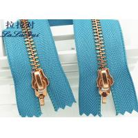 Buy cheap Metal Double Sided Rose Gold Zipper And Double Sliders Zipper As Decorative Zipper product