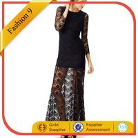 Buy cheap Women Black Sheer Lace Evening Gown Dress With Long Sleeve from wholesalers