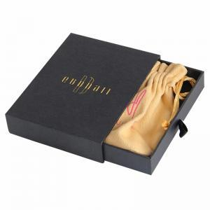 Buy cheap Custom Matt Black gift presentation boxes drawer paper box with ribbon product