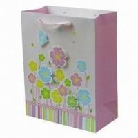Buy cheap Fresh Printed Delicately Flower Pink Colorful Printing Hnadle Paper Bag for Gift from wholesalers