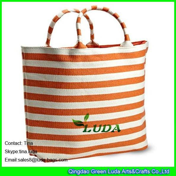 Luda Striped Beach Handbags Cheap Paper Straw Fabric Straw