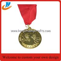 Buy cheap Carved metal medallions with Nylon ribbon,gold metal medal die casting with filled color from wholesalers