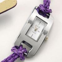 China 12 colors Cow Leather Madeup Bracelet Wrist Watch purple on sale