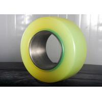 Buy cheap Pu Caster Wheel Forklift Spare Parts With 90mm Cast Iron Core Yellow Color from wholesalers