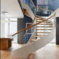 Buy cheap Modern Wooden Steel Curved Staircase Design from wholesalers