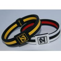 Buy cheap Eco - Friendly Silicone Negative Ion Bracelets Customized Black Bangles from wholesalers