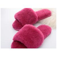 Buy cheap Wool Lining Womens Fluffy Slippers , Pink Warm Fuzzy Slippers Rubber Sole from wholesalers