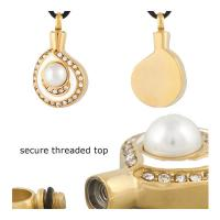 Buy cheap 316 Stainless steel Cremation URN Jewelry Pearl Pendant With Gold plated from wholesalers