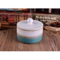 Buy cheap Heat Durable Ceramic Candle Container Sets With Lid , Hand Made Craft from wholesalers