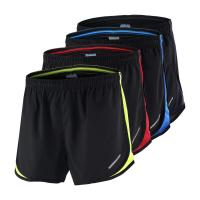 Buy cheap 2 In 1 Boy Mens Running Shorts Black Color Personalised Polyester Material Various Size from wholesalers