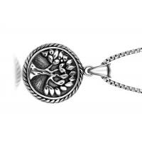 Buy cheap Vintage Stainless Steel Pendant Necklace , Peaceful Tree Pattern Round Pendant Necklace product