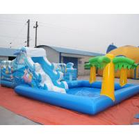 Buy cheap Sea world inflatable bouncy castle with water slide and palm tree swimming pool from wholesalers