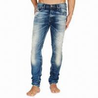Buy cheap Men's Slub Indigo Wash Denim Jean with Water-resistant and Quick-dry Feature from wholesalers