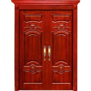 China exterior high quality double/sigle swing teak wood main door, solid wood door on sale