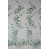 Buy cheap 2017 Fashion Mesh Based Embroidery Fabric with Bead with Gold/Green Wire from wholesalers