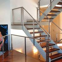 Buy cheap 304 Polished Stainless Steel or Black Cast iron Hidden Double Stringers Support Straight Staircase from wholesalers