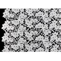 Buy cheap Floral Schiffli Guipure Water Soluble Lace Fabric With Poly Milky Silk By SGS product
