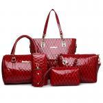 Buy cheap Women set bag pu leather handbags for women 5 pieces 1 set glimmering material nice looking women handbag shoulder bag w from wholesalers