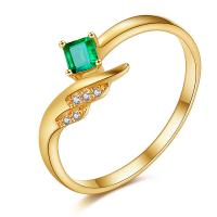 Buy cheap Unusual 18k Gold Gemstone Rings Square Cut Emerald Ring For Women from wholesalers
