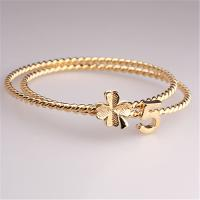 Buy cheap Fashion Accessories Beauty 18K Gold Plated #5 Lucky Clover Pendant Bangles Hot Selling in Russia Korea Japan Bracelet from wholesalers