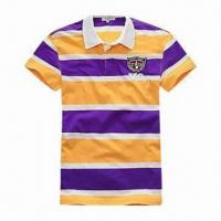 Buy cheap 100% Cotton Polo T-shirt with Stripe Design, Customized Specifications are Accepted from wholesalers