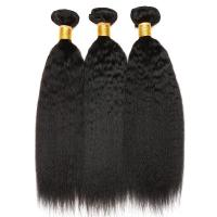 Buy cheap 3 Bundles Peruvian Human Hair Weave Kinky Straight Hair Customized Length from wholesalers