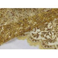 Buy cheap Stretch Golden Lurex Sequin Lace Fabric , Nylon Mesh Fabric With Sequin Golden Thread from wholesalers