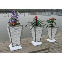 Buy cheap Rattan Flower Pots White Color Garden Planter Zin Pot with Resin Wicker Weaving from wholesalers