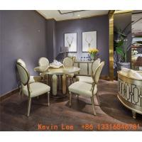 Buy cheap Luxury dining room furniture circle table on golden leaf painting with Stainless steel legs used by Beech wood chairs product
