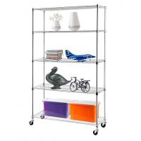 Buy cheap H175 Chrome Plating  Display Shelf Floor Standing Display Unit Easy To Install Mobile Rack with 4pcs Casters product