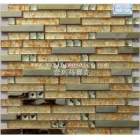Buy cheap strip glass mosaic tile mix metal mosaic decorate the background for hotel,bar,club.ec from wholesalers