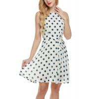 Buy cheap Bow Waist Short Chiffon Summer Dresses , Plus Size Polka Dot Maxi Dress from wholesalers