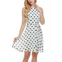 Bow Waist Short Chiffon Summer Dresses , Plus Size Polka Dot Maxi Dress