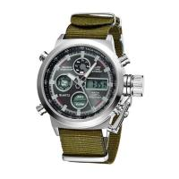 Buy cheap Mens Sport Style Stainless Steel Caseback Watches , Dual Time Digital Analog Watch With Nylon Strap from wholesalers