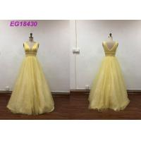 Buy cheap Bling Yellow Sleeveless Prom Ball Gowns For Ladies Beading Pattern Customized Size from wholesalers