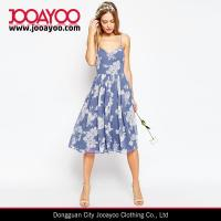 Buy cheap Girls Elegant A-line Chiffon Floral Print Strap Midi Casual Dress from wholesalers