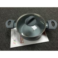 Buy cheap Stamping Aluminum Casserole with glass lid / non-stick marble coating-grey color from wholesalers