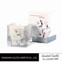 Buy cheap Scented aquare jar candle with customized flower pattern in the bottle and box from wholesalers