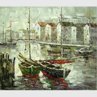 Buy cheap Bright Hand Painted Boats Oil Painting At Low Tide , Modern Abstract Canvas Art from wholesalers