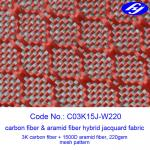Buy cheap Mesh Pattern Carbon Kevlar Hybrid Fabric With Jacquard Hybrid Woven from wholesalers