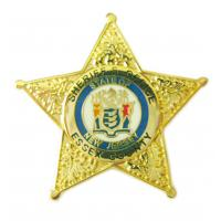 Buy cheap Gold Star Police Personalized Lapel Pins Gold Plated from wholesalers